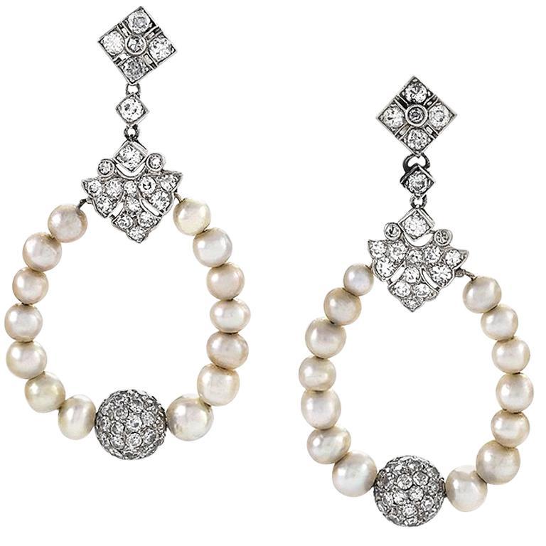 Edwardian Diamond Pearl and Platinum Ear Pendants