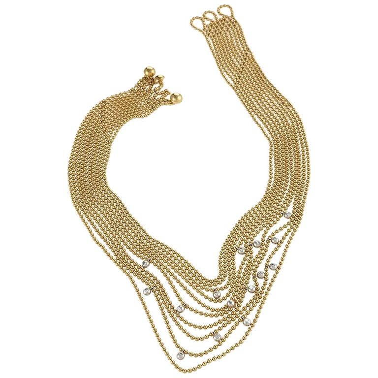 """Cartier Late 20th Century Diamond and Gold """"Nouvelle Vague Collection"""" Necklace"""