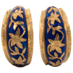 1950s 18 Karat Yellow Gold, Blue Enamel Floral Huggie Hoop Earrings