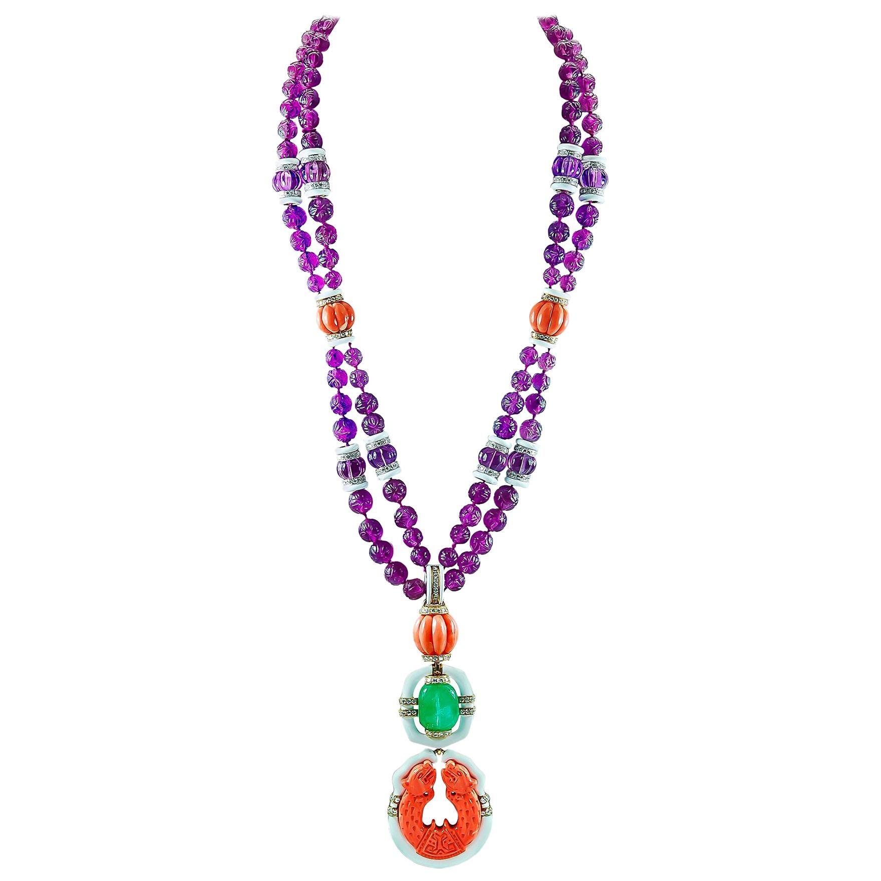 David Webb Carved Amethyst Beads, Diamond, Coral, Emerald Pendant Necklace