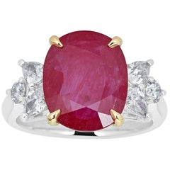 5.00 Carat Oval Cut Ruby and Diamond Cocktail Ring