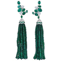 Emerald and Diamond Cluster Earrings with Removable Emerald Bead Tassel