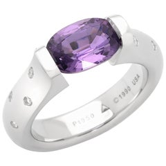 Steven Kretchmer Omega Ring with a Tension-set Purple Sapphire