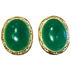 Elegant Oval Shaped Apple Green Jade Yellow Gold Fretwork Earrings