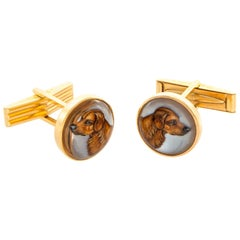 14 Karat Gold Reverse Crystal Intaglio Dog Cufflinks