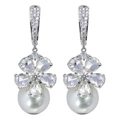 Studio Rêves Rose cut Diamonds and South Sea Pearls Dangling Earrings