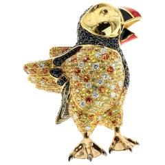 Enamel Diamond Sapphire Cute Puffin Bird 18 Karat Yellow Gold Brooch