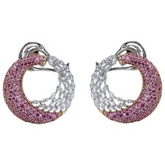 Studio Rêves Diamond Marquise and Pink Sapphire Earrings