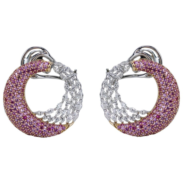 Studio Rêves 18k Gold Diamond Marquise And Pink Shire Earrings For
