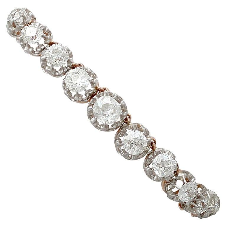 Antique French 11.12 Carat Diamond and Yellow Gold Platinum Set Bracelet