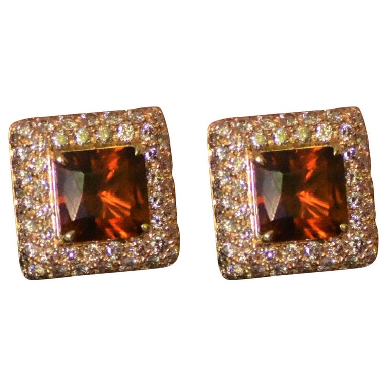 Margherita Burgener 18 Karat Gold Brown Diamond Citrine Quartz Clip Earrings