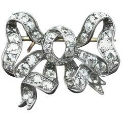 Victorian Diamond Bow Brooch Pendant Antique