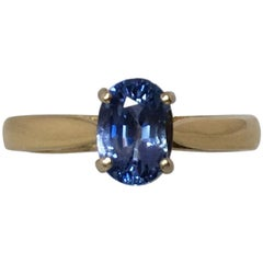Vivid Blue Ceylon Sapphire 1.33ct Oval Cut 18k Gold Engagement Solitaire Ring
