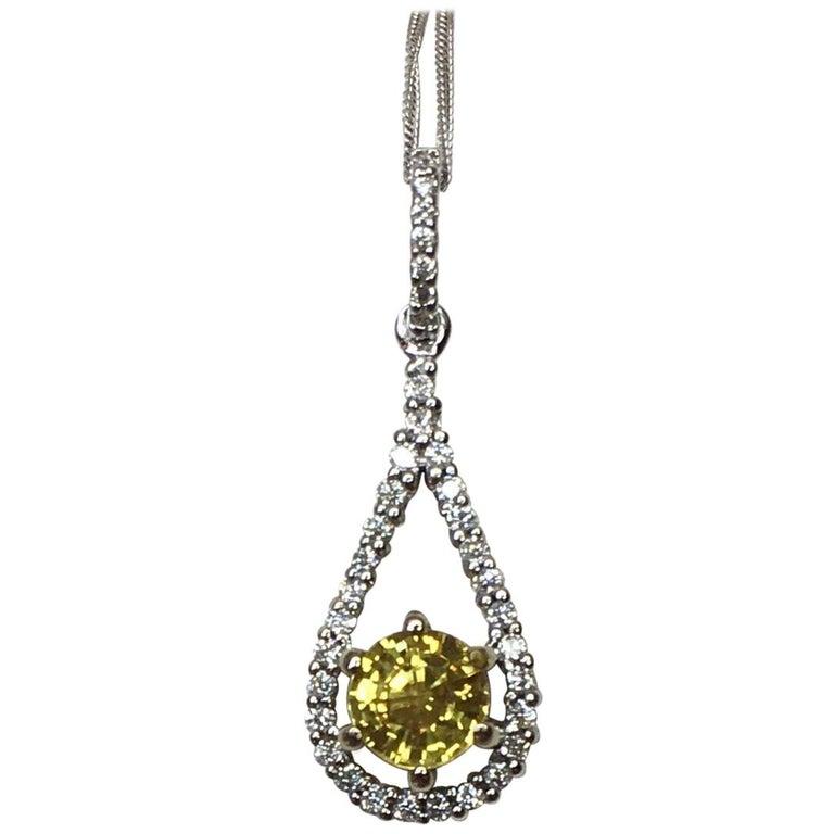 GCS Certified Untreated Yellow Sapphire and Diamond 18 Karat White Gold Pendant