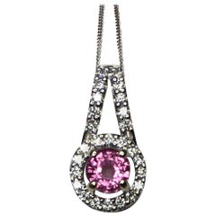 Untreated Vivid Pink Sapphire and Diamond 18 Karat White Gold Pendant Necklace