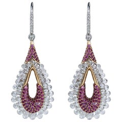 Studio Rêves 18K Gold, Rose cut Diamond and Pink Sapphire Dangling Earrings