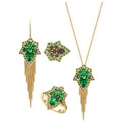 Ana De Costa 18ct Yellow Gold Tsavorite Cognac Diamond Pendant Ring Earring set