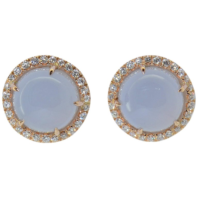 Margherita Burgener 18 Karat Rose Gold Diamond Chalcedony Clip Lobe Earrings