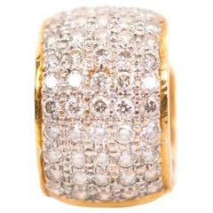 1980s 18 Karat Yellow Gold Diamond Ear Cuff
