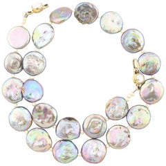 Glowing Coin Pearl with Pearl Clasp Necklace