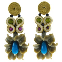 Pradera Kalas Collection Soutache and Silver Earrings with Blue Jade and Resins