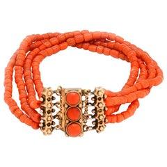 Solid 14 Karat Gold Victorian Coral Beaded Bracelet