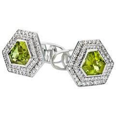 Chameleons 18 Karat White Gold, Diamond and Peridot Cufflinks