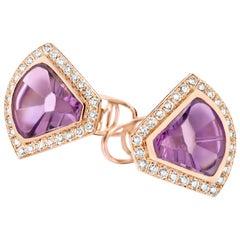 Paramount Purple 18 Karat Gold Diamond and Amethyst Cufflinks