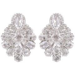Rarever 9.95 carats Rose cut Diamond Gold Stud Earrings One of a Kind