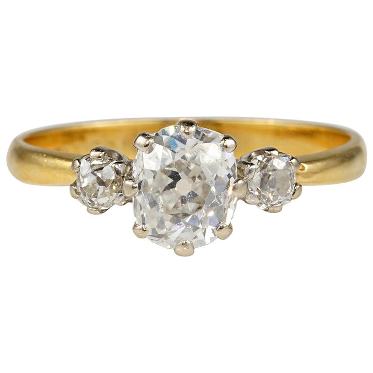 Authentic Victorian 1.80 Carat Old Mine Diamond Trilogy Ring