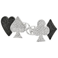 Las Vegas 18 Karat White Gold and Diamonds Cufflinks
