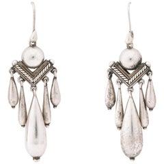 Antique Victorian Silver Chandelier Earrings