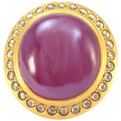 100% Authentic Mouawad 22K Yellow Gold Cabochon Ruby & Natural Diamond Ring