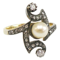 Victorian 18 Karat, Sterling Silver, Pearl and Diamond Ring