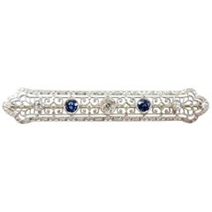 Art Deco Diamond and Sapphire Filigree Bar Pin / 14 Karat White Gold
