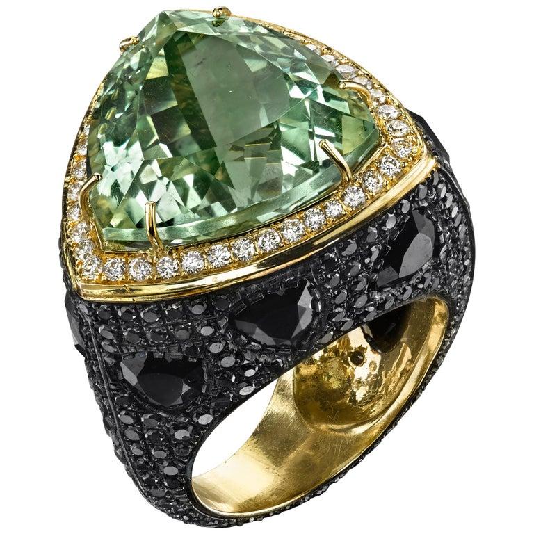 18 Karat Green Amethyst Spinel Black Diamond Triangle Cocktail Ring
