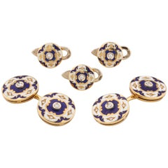 Enamel and Diamond Vintage Stud Set
