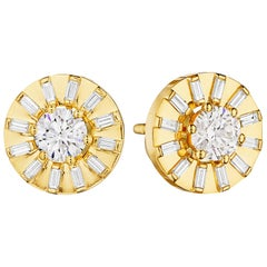 CADAR Sole Stud Earrings, 18K Yellow Gold and White Diamonds