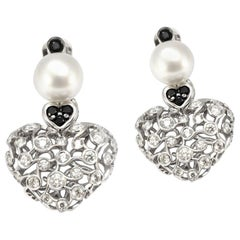 Solid 18 Karat White Gold Pearl, Diamond and Black Diamond Heart Earrings