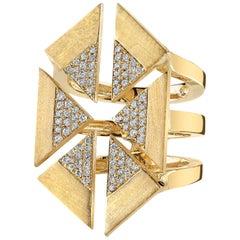 18 Karat Yellow Gold Diamond Triangle Geometric Ring