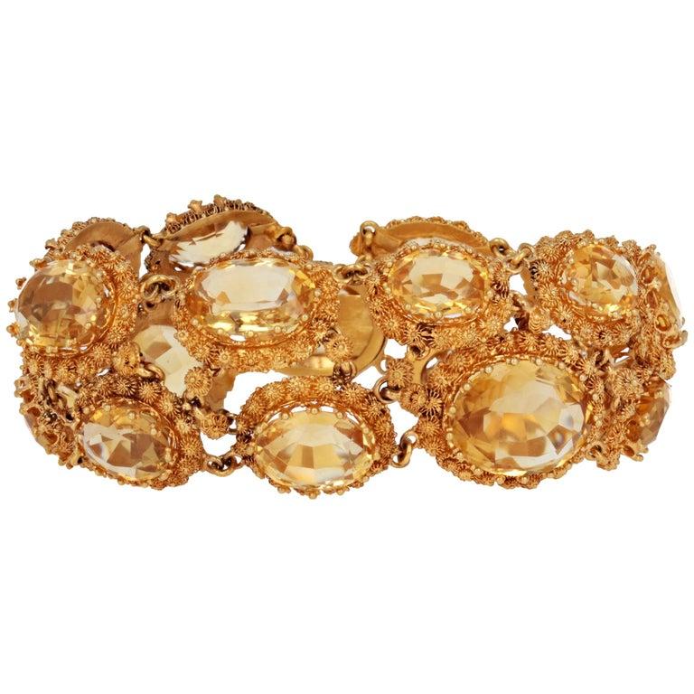 Antique Georgian Gold And Citrine Bracelet For