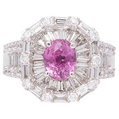 Pink Sapphire Diamond Baguette Ring
