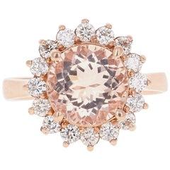3.54 Carat Morganite Diamond Rose Gold Cocktail Ring
