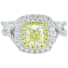 Fancy Yellow Cushion Diamond Halo Engagement Ring 1.75 Carat in 18 Karat Gold