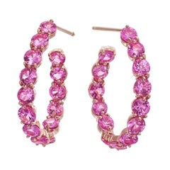 18 Karat Rose Gold and 7.48 Carat Oval Pink Sapphire Hoop Earrings