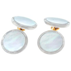 Mother-of-Pearl Set Gold Cufflink and Stud Set