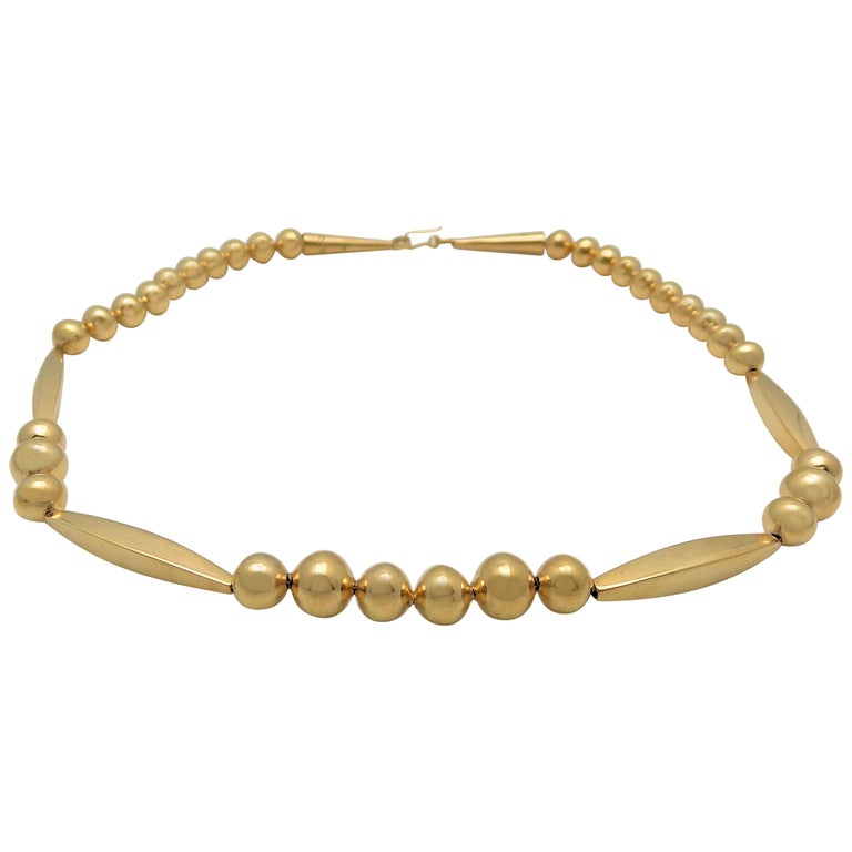 Gold Bead Necklace For Sale