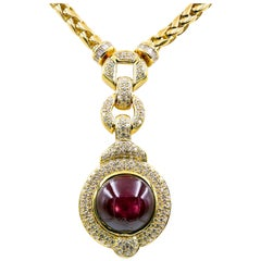 56.54 Carat Cabochon Cut Star Ruby and Diamond Necklace