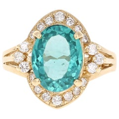 3.73 Carat Apatite Diamond Yellow Gold Cocktail Ring