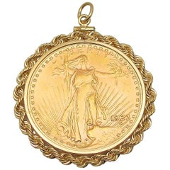 Gold US 1923 $20 Coin Pendant